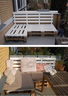 Outdoor seating with pallets!