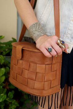 Unique Vintage Talbots Tan Leather Basket Weave by MonReveandCo