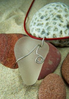 Sea Glass Necklace'Here's My Heart' Thick by SilverBeachSeaGlass, $32.00