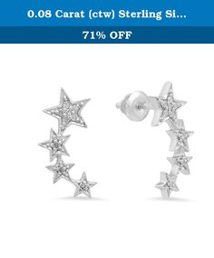 0.08 Carat (ctw) Sterling Silver Round White Diamond Ladies Stars shaped Climber Earrings. This lovely Right and left design earrings feature 0.08 ct. white diamonds prong-setting. All diamonds are sparkling and 100% natural. All our products with FREE gift box and 100% Satisfaction guarantee. SKU # K4142.
