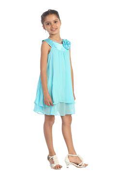 Aqua Satin bib necklin & chiffon A-line Flower Girl dress K255A2 $24.95 on www.GirlsDressLine.Com