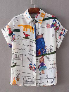 Blusa estampada casual -blanco-Spanish SheIn(Sheinside)
