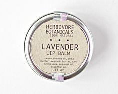 Lavender  Lip Balm  Vegan  Round Tin  Shea by HerbivoreBotanicals, $4.25