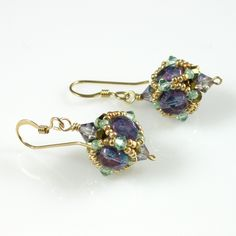 Beaded Bead Earrings Czech fire polished crystals enhanced with Swarovski crystal bicones and gold charlottes.