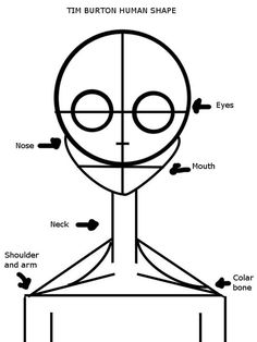 Drawing Tips Tim Burton Human Shape by randomdrawerchic - Tim Burton Stil, Tim Burton Kunst, Arte Tim Burton, Tim Burton Drawings Style, Tim Burton Art Style, Tim Burton Sketches, Tim Burton Artwork, Drawing Techniques, Drawing Tips