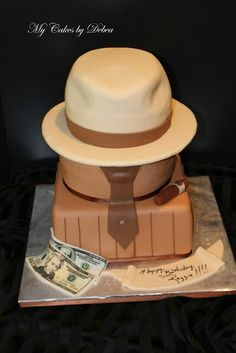 """50th Theme Cake for a man """"Hat Cake"""" one day I'll be able to do this!"""