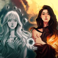 Fan art of Moonbyul (문별) and Solar (솔라) of MAMAMOO (마마무). || By Chalseu (@Chalseu_D) on Twitter.