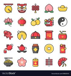 Chinese new year filled outline cute icon, 128 px on grid system Chinese New Year Design, Chinese New Year 2020, Kawaii Doodles, Cute Doodles, New Year Illustration, Illustrations, Bullet Journal Ideas Pages, Bullet Journal Inspiration, New Year Doodle