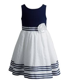 Look at this #zulilyfind! Navy & White Stripe A-Line Dress - Infant, Toddler & Girls #zulilyfinds