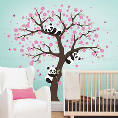 Panda and Cherry Blossom Tree Wall Decal, Panda Wall Decal, Blossom Tree for Baby Nursery, Kids or Childrens by SimpleShapes on Etsy https://www.etsy.com/listing/268540124/panda-and-cherry-blossom-tree-wall-decal
