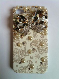 Bling Rhinestone Phone Case Jewel Bow iPhone 4/ 4S Retro Floral Paisley. $34.00, via Etsy.