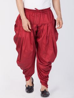 Vastramay Men's Cotton Art Silk Solid Cowl Design Patiala Style Dhoti Pant in Maroon Mens Indian Wear, Indian Groom Wear, Indian Men Fashion, Mens Fashion Wear, Dhoti Pants For Men, Kurta Men, Formal Men Outfit, Mens Kurta Designs, Groom Shoes