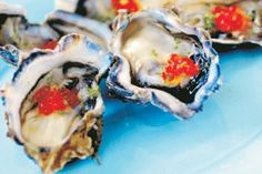 Oysters with champagne vinegar and salmon roe recipe, Viva – visit Eat Well for New Zealand recipes using local ingredients - Eat Well (formerly Bite) Salmon Roe, Champagne Vinegar, Oyster Recipes, Fresh Seafood, Oysters, Seafood Recipes, Sushi, Paleo, Snacks
