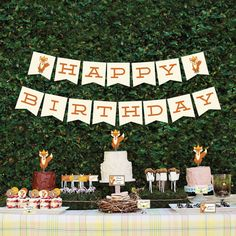Instant Download - Fox Theme Birthday Package - DIY Birthday Package - Woodland Birthday Package on Etsy, $22.00