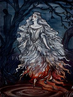 """Irish Legend ✦ Banshee ✦ UnripeHamadryad on DeviantArt. """"(In Irish legend) a female spirit whose wailing warns of an impending death in a house,"""" [from http://www.thefreedictionary.com/banshee ]. More info: http://www.yourirish.com/folklore/banshees/"""