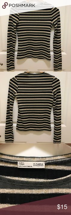 New Zara Striped T Shirt Brand new. Never worn. Unique strips with metallic elements. Very stylish. Size S Zara Tops Tees - Long Sleeve