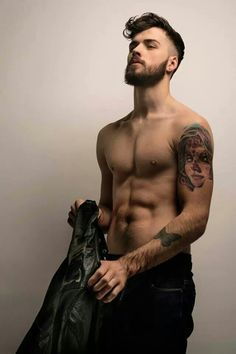 London model Charlie Winzar. Mmm tats, the beard, & just the right chisel to his abs ;)