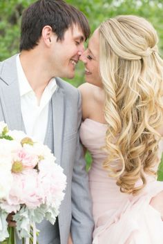 Any bride who can rock a blush pink Vera is a fashion hero, in my book. Love Birds Wedding, Wedding Pics, Wedding Styles, Dream Wedding, Wedding Ideas, Wedding Hair And Makeup, Hair Makeup, Pretty Hairstyles, Wedding Hairstyles