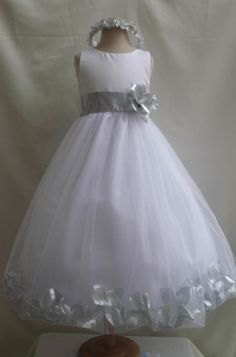Flower Girl Dresses- with deep purple or champagne petals and sash :)