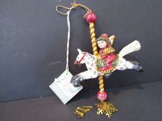 Pam Schifferl Angel on Carousel Horse Ornament, Midwest of Cannon Falls w Tag