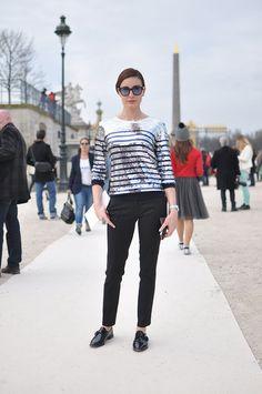 fab those stripes. #EceSukan in Paris.