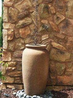 Copper rain chain ...idea into rain barrel