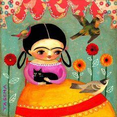 frida kahlo black cat mixed media painting art tascha