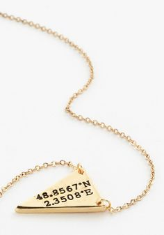 No Ordinary Coordinates Necklace in Paris - French / Victorian, Darling, Gold, Exclusives, Novelty Print, Minimal, Variation