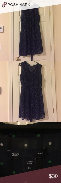 Gap polka dot dress Chiffon Gap Polka Dot Dress. Only worn a couple times and dry cleaned after. Separate navy slip under neath. GAP Dresses Midi
