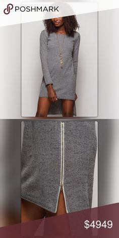 Gray Ribbed Shift Dress with Zipper Sides Ships 11/9. Sexy and sassy! This long sleeve, ribbed dress has a high/low style with zipper details on each side. Wear it with booties for a night on the town. Pair it with faux leather leggings (available in my closet) and you are ready for brunch with the girls. The dress is made of 65% cotton and 35% rayon. NEW Boutique Dresses High Low