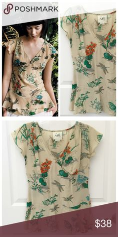 Anthropologie Dragonfly Silk Top Botanical Anthropologie Mermaid Brand Dragonfly Silk Top, Botanical print, Size 4, gently worn, great clean condition  Anthropologie Tops