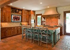 Artistic Turquoise Kitchen Island Decorating Ideas in Kitchen Mediterranean design ideas with Artistic ceiling lighting counter stools distressed wood eat in kitchen island range hood Turquoise Kitchen Cabinets, Teal Cabinets, Rustic Cabinets, Wood Cabinets, Floor Design, Tile Design, House Design, Green Kitchen Island, Kitchen Redo