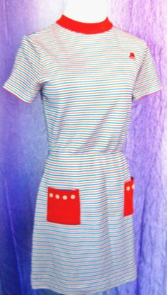 Bobbie Brooks Vintage Striped Dress Retro / Mod / Mad Men Style Size 6 / 8  Free Shipping Included! True Vintage / 1971.