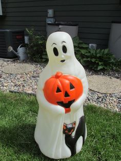 blow mold halloween ghost w cat pumpkin jack o lantern lighted yard decor 34