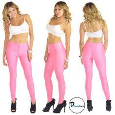 High Waisted Zipper Pink Leggings