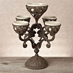 Bronze 4 Arm Epergne with Cream Ceramic Bowls by the GG Collection