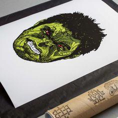 'Hulk Smash' Artwork by Luke Dixon Hulk Smash, White Velvet, Fine Art Paper, Stamp, Artwork, Fabric, Prints, Design, Tejido