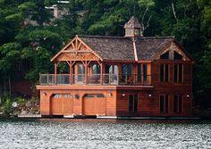 Lake cottage with boathouse under
