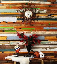 Contemporary Hallway with Propac images sunburst mirror, Multicolored reclaimed wood wall, Hardwood floors, Standard height