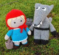 amigurumi, crochet wolf and little red riding hood, rödluvan och vargen virkade