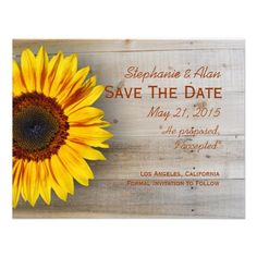 Country Sunflower Save The Date Card