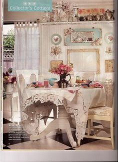 Shabby Chic vintage dining space for your cottage Romantic Cottage, Shabby Chic Cottage, Cozy Cottage, Vintage Shabby Chic, Shabby Chic Homes, Shabby Chic Style, Shabby Chic Decor, Vintage Decor, Style Cottage