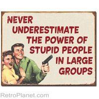Ephemera - The Power of Stupid People Retro Fun Metal Sign
