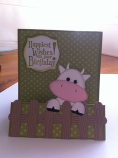 Punch art cow, kid's birthday card, Stampin Up. Made for a friend's son.