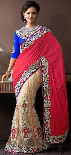 USD 165.8 Pink Net Designer Wedding Lehenga Saree 43263