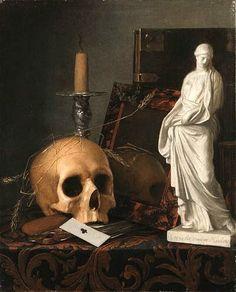 "(Still Life) Cornelis van der Meulen ""Vanitas"" Natureza Morta Memento Mori, Vanitas Paintings, Old Paintings, Vanitas Vanitatum, Dance Of Death, Tinta China, Danse Macabre, Still Life Art, Old Master"