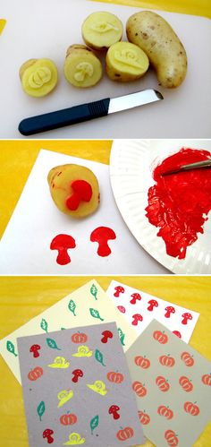 Les tampons pomme de terre. On oublie parfois qu'avec des choses très simples on peut faire des merveilles! Patatoe inking pads. We sometimes forget how the simplest things can make wonderful stuff!