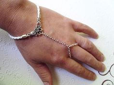 Floral Slave Bracelet with White Braided by TaylorsTemptations, $9.75