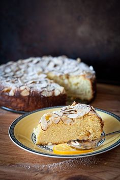 Flourless Meyer Lemon Ricotta Cake with Almonds via Cooking Melangery. I just made this in a spring form pan it looks beautiful and I also made a yummy lemon curd to top it with.Merry Christmas everyone! Just Desserts, Delicious Desserts, Dessert Recipes, Yummy Food, Cupcakes, Cupcake Cakes, Lemon Ricotta Cake, Lemon Curd, Meyer Lemon Recipes