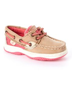 28165fbc5cf Look at this Sperry Top-Sider Linen  amp  Pink Bluefish Leather Boat Shoe on
